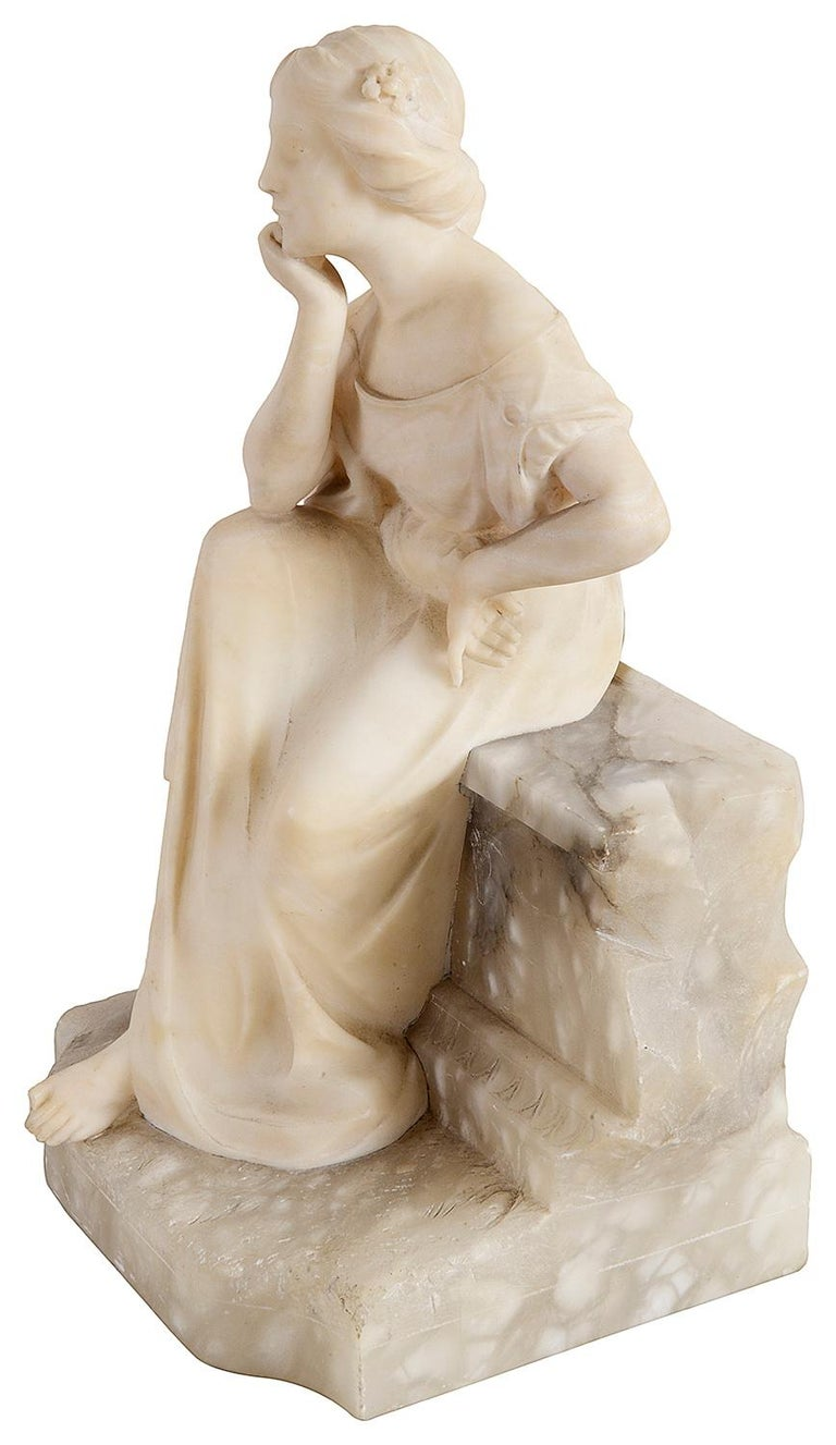Romantic Alabaster Statue of Young Seated Girl, 19th Century For Sale