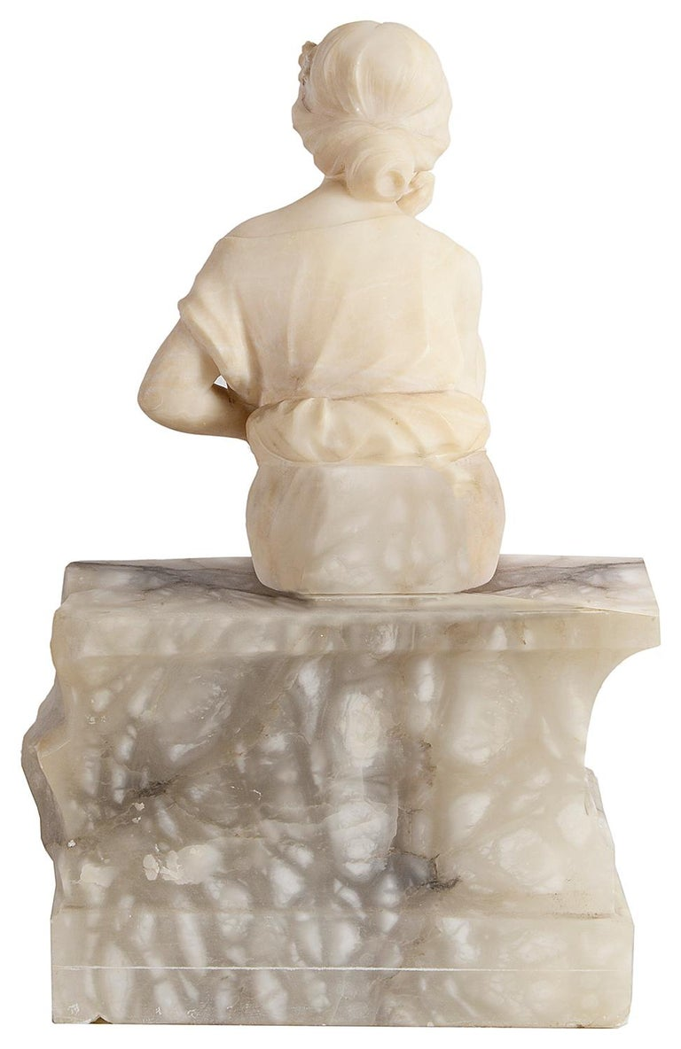 French Alabaster Statue of Young Seated Girl, 19th Century For Sale