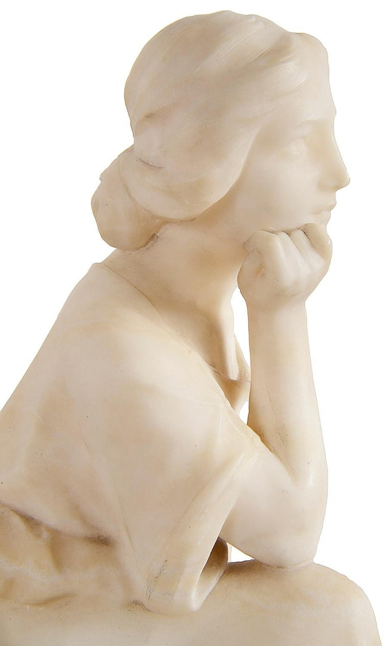 Alabaster Statue of Young Seated Girl, 19th Century In Good Condition For Sale In Brighton, Sussex