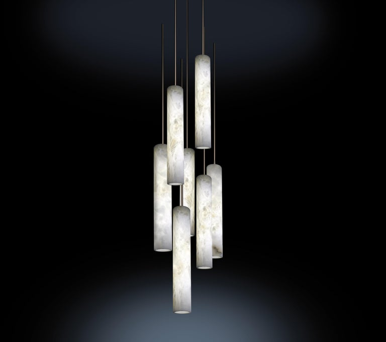 Alabaster Sumatra Pendant Light by Atelier Alain Ellouz In New Condition For Sale In Geneve, CH