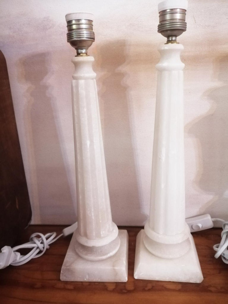 Alabaster Table Lamp Classic Column Form For Sale 5