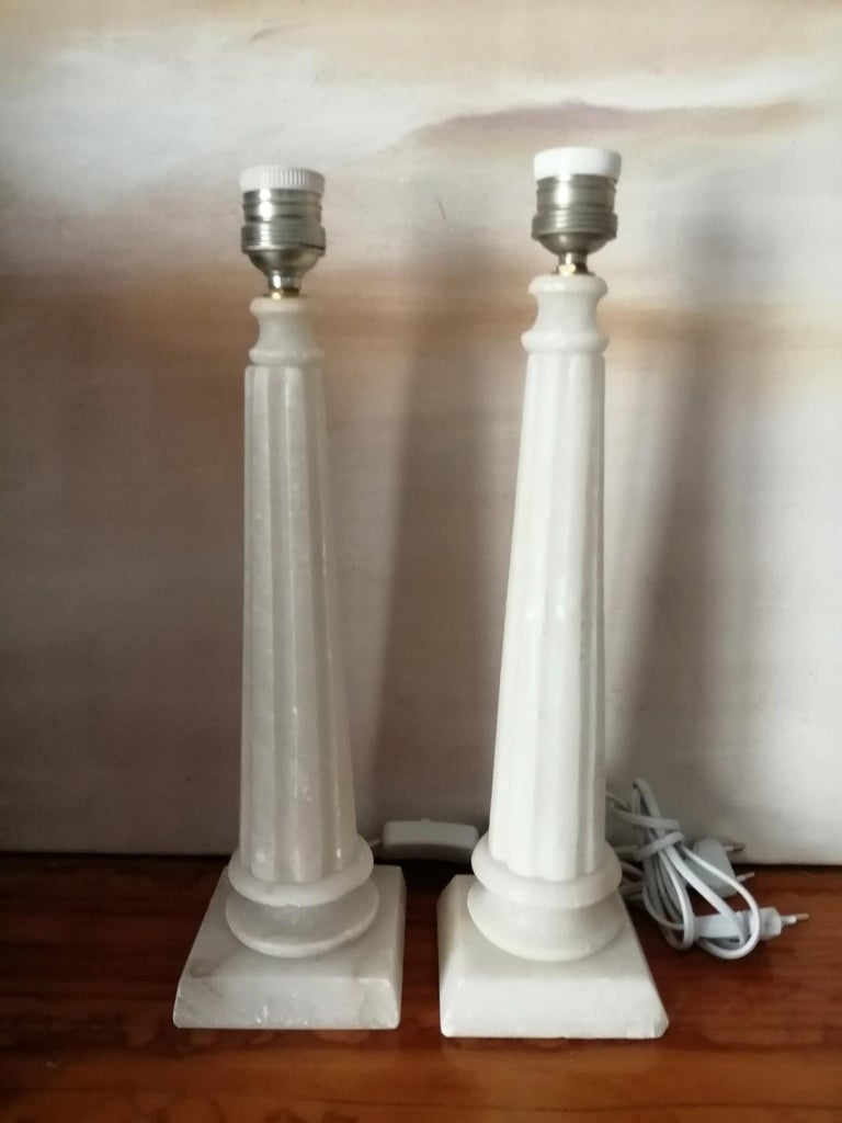 Neoclassical Alabaster Table Lamp Classic Column Form For Sale