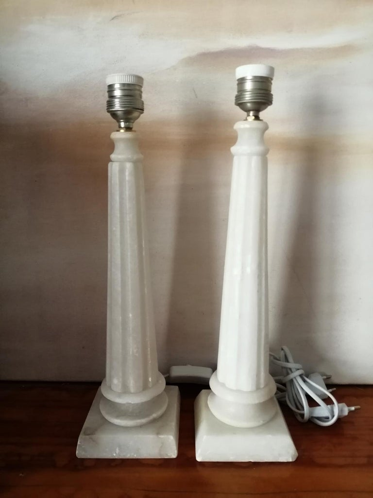 20th Century Alabaster Table Lamp Classic Column Form For Sale