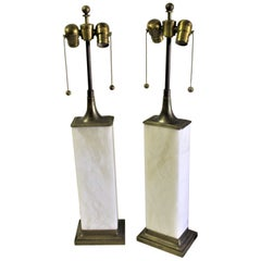 Alabaster Table Lamps, Modern, Solid Brass Mounting Deluxe Sockets