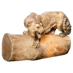 Alabaster Tiger Sculpture with Light, Art Deco Period, Italy, circa 1920