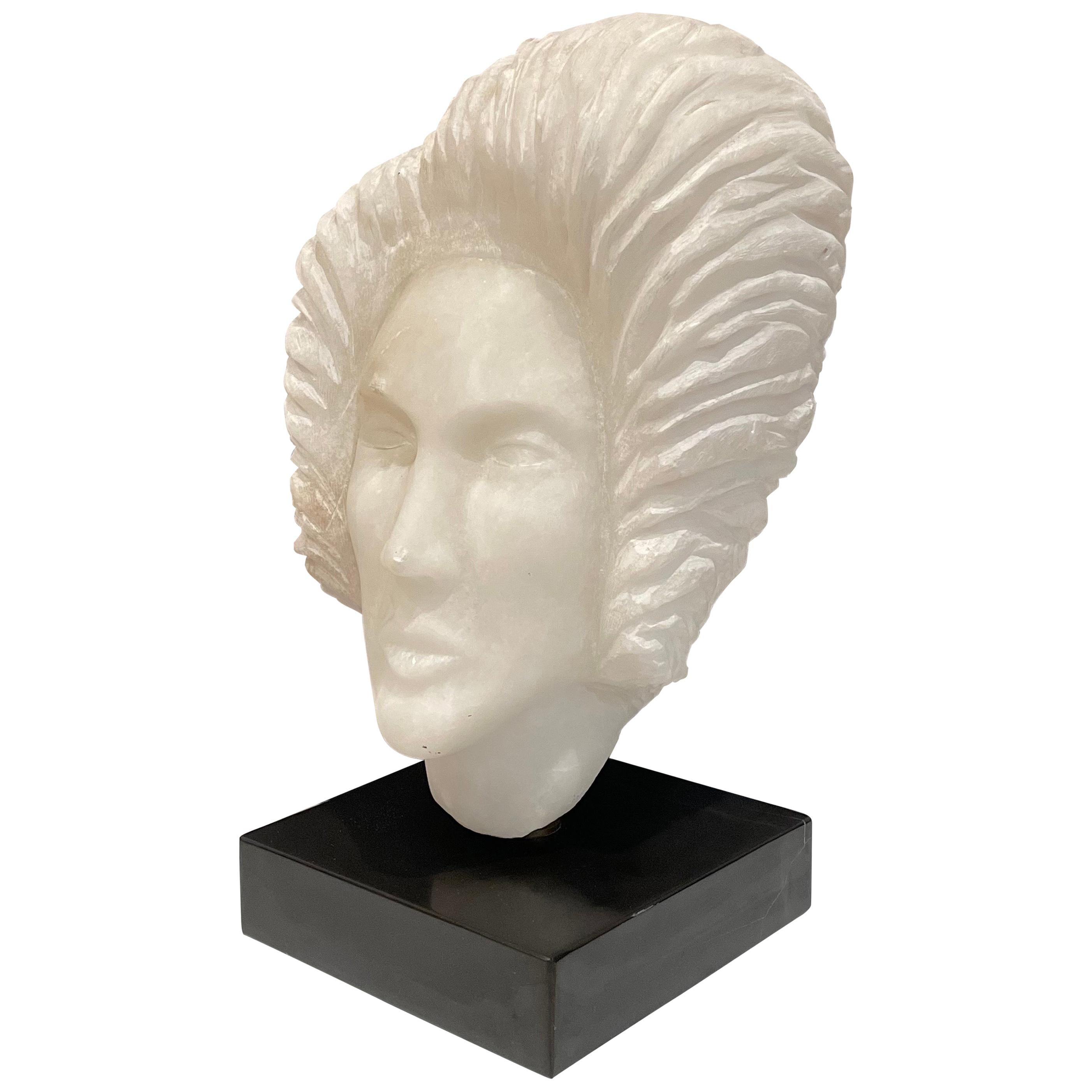 Alabaster Woman's Head Sculpture on Marble Base Rotates 360 Degree