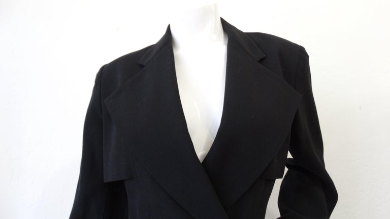 Black Alaia 1980s Double Breasted Wool Blazer  For Sale