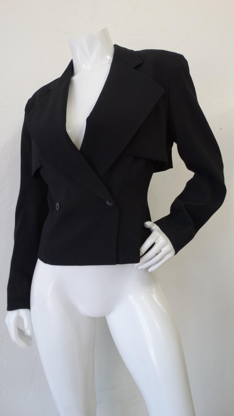 Alaia 1980s Double Breasted Wool Blazer  In Good Condition For Sale In Scottsdale, AZ