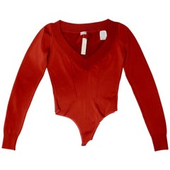Alaia 1990s Rust Orange Bodysuit
