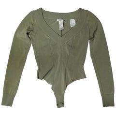 Alaia 1990s Sage Green Bodysuit