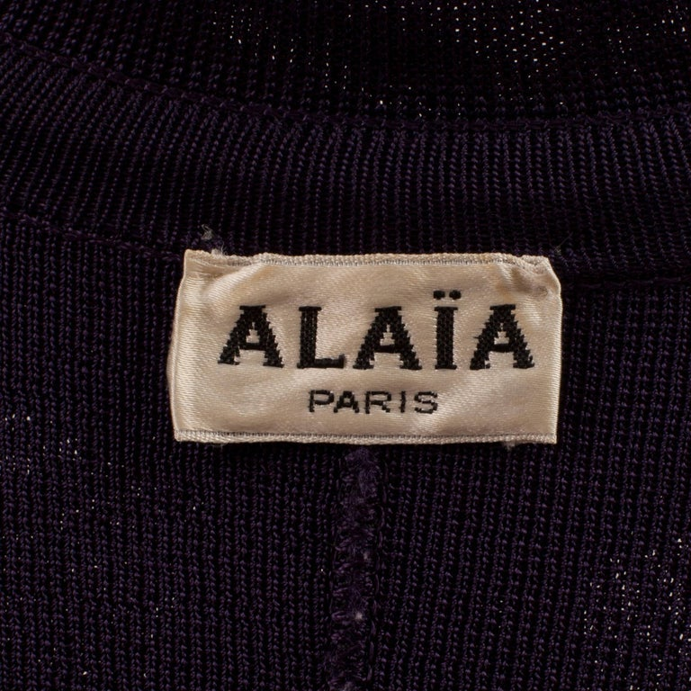 Alaia Aubergine Cardigan Circa 1980's For Sale 1