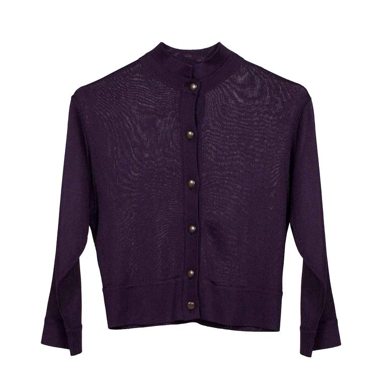 Alaia Aubergine Cardigan Circa 1980's For Sale
