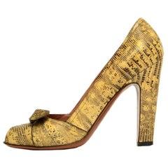 Alaia Beige Lizard Peep Toe Heels w/ Bow sz 38.5