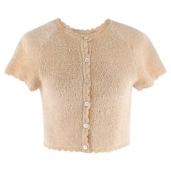 Alaia Beige Short Sleeve Textured Scalloped Crop Cardigan S