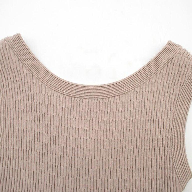 Alaia Beige Stretch Knit Dress US 6 For Sale 1