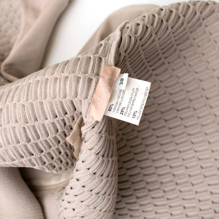 Alaia Beige Stretch Knit Dress US 6 For Sale 4