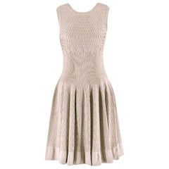 Alaia Beige Stretch Knit Dress US 6