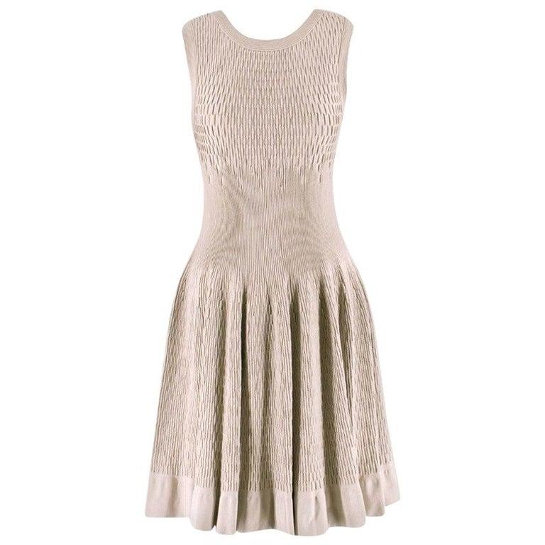 Alaia Beige Stretch Knit Dress US 6 For Sale