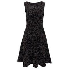 Alaia Black Beaded Sleeveless Fit and Flare Dress
