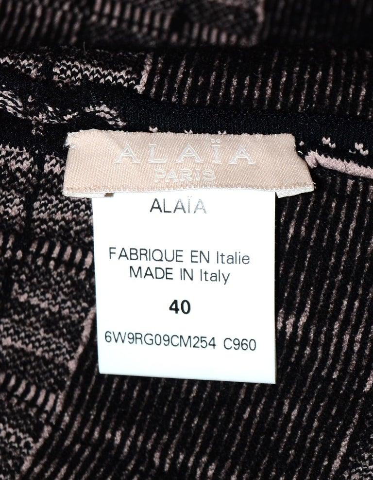 Women's Alaia Black & Beige Fit & Flare Dress Sz 40 For Sale