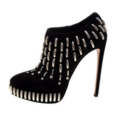 Alaia Black Emebellished Suede Platform Ankle Booties Size 38