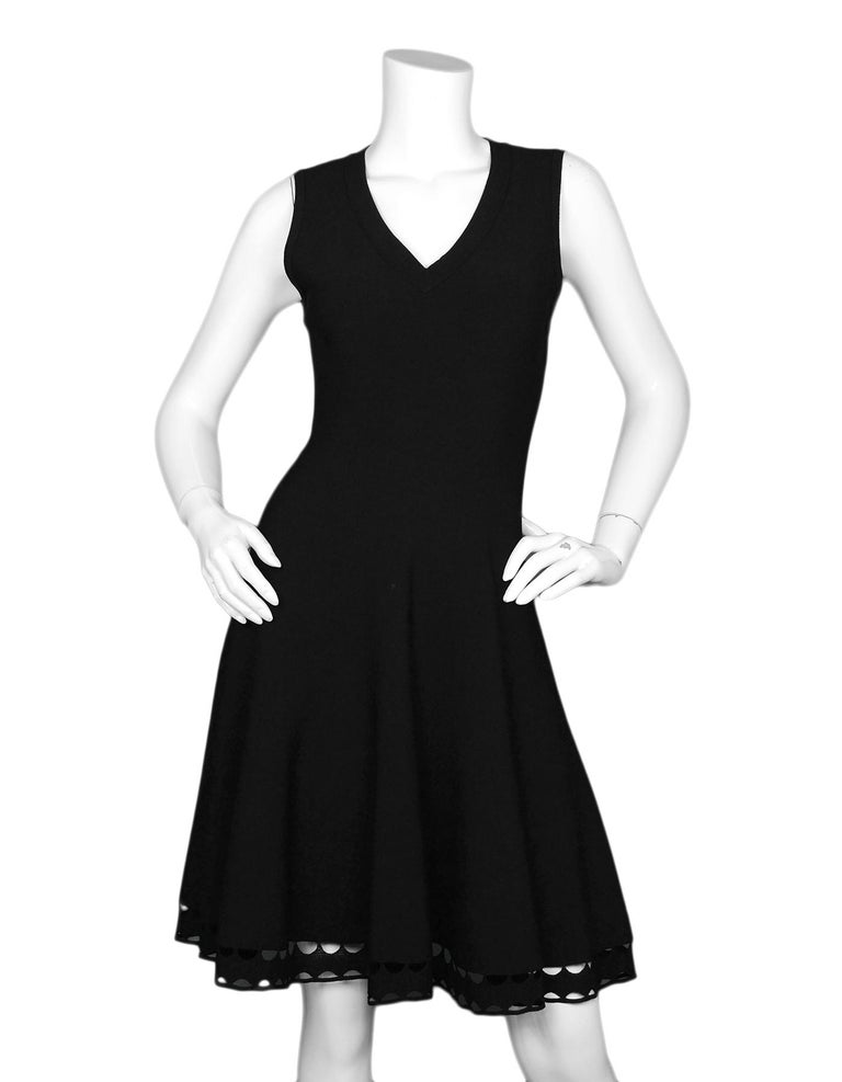 Alaia Black Fit & Flare V Neck Sleeveless Dress W/ Crochet Hem Sz 42  Made In:  Italy Color: Black Materials: 82% viscose, 10% polyester, 6% nylon 2% elastodiene Opening/Closure: Hidden back zip Overall Condition: Excellent pre-owned condition