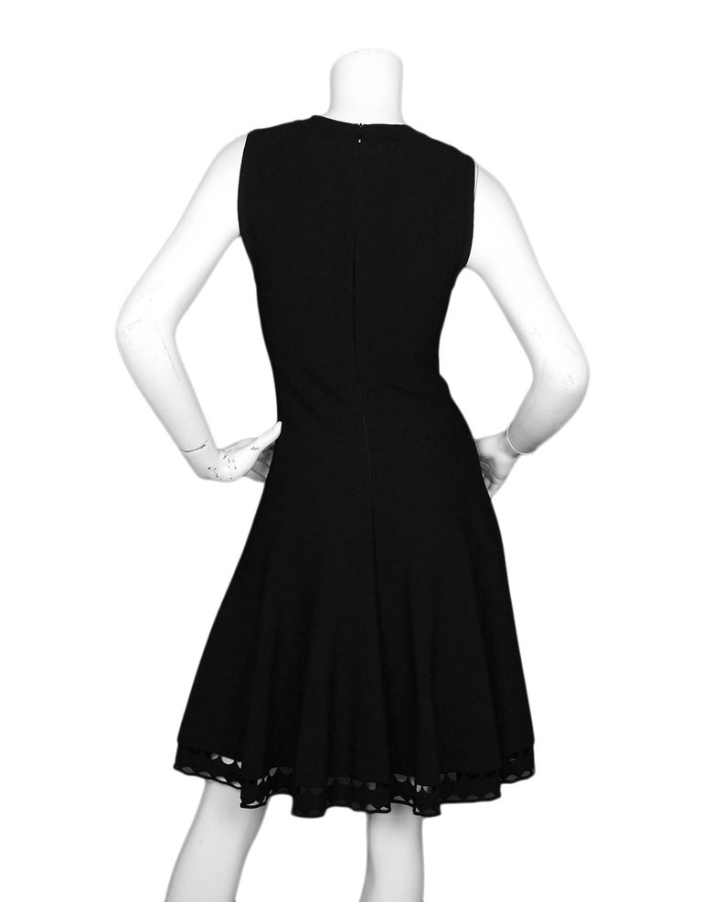 Alaia Black Fit & Flare V Neck Sleeveless Dress W/ Crochet Hem Sz IT42 In Excellent Condition For Sale In New York, NY