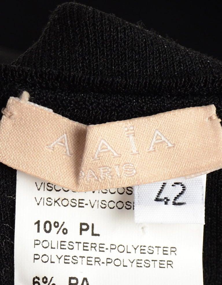 Women's Alaia Black Fit & Flare V Neck Sleeveless Dress W/ Crochet Hem Sz IT42 For Sale