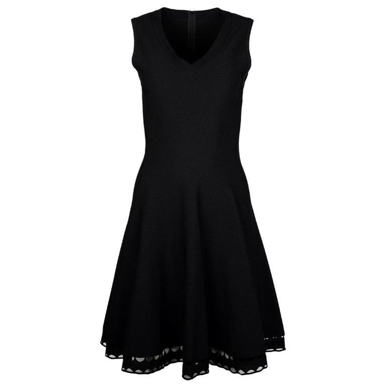 Alaia Black Fit & Flare V Neck Sleeveless Dress W/ Crochet Hem Sz IT42 For Sale