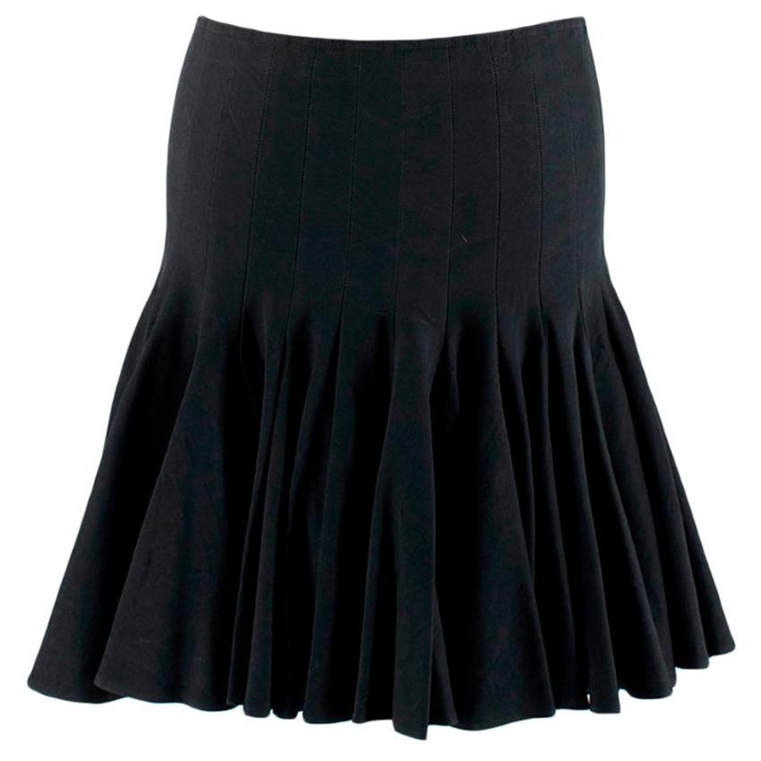 Alaia Black Flared Pleated Mini Skirt - Size Estimated S