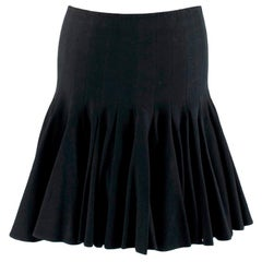 Alaia Black Flared Pleated Mini Skirt - Size Estimated S