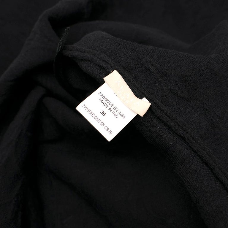 Alaia Black Jacquard-knit Scalloped Wool Mini Dress36 For Sale 4