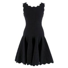 Alaia Black Jacquard-knit Scalloped Wool Mini Dress36