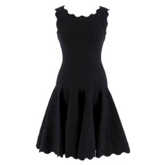 Alaia Black Jacquard-knit Scalloped Wool Mini Dress	36