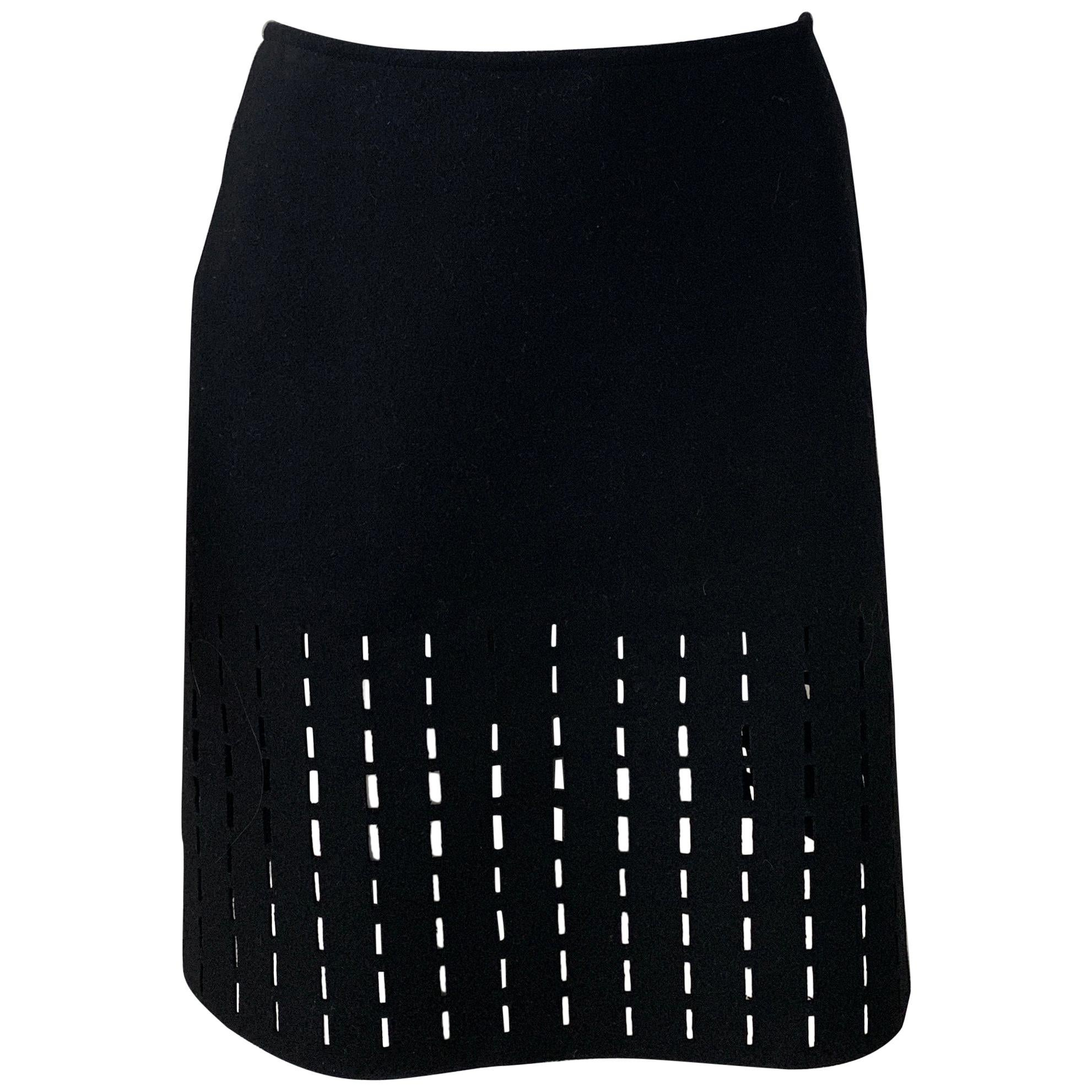 ALAIA Black Knee Length Skirt