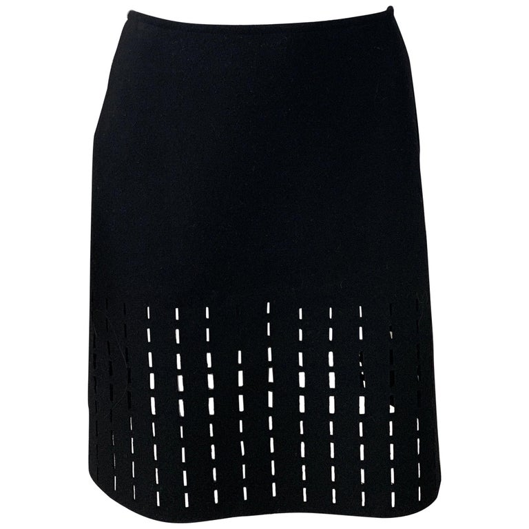 ALAIA Black Knee Length Skirt  For Sale