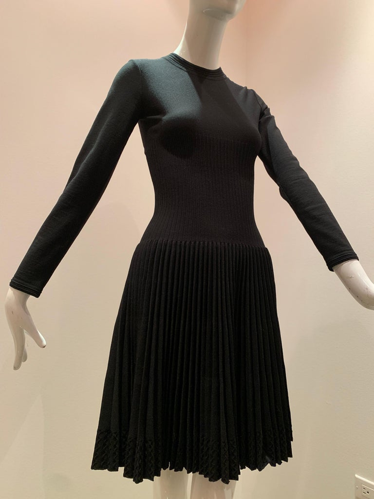 Alaia Black Knit Dress W/ High Neckline Dropped Waist and Pleated Flared Skirt For Sale 6