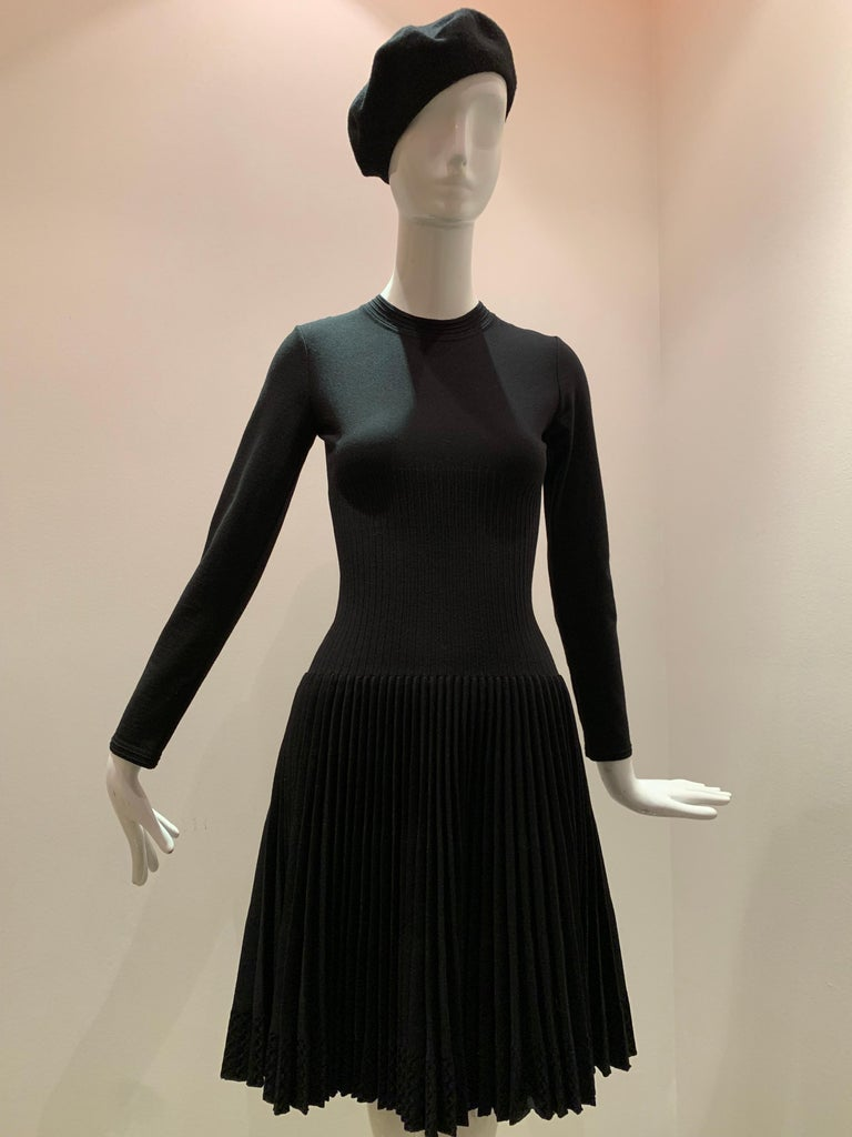 Alaia Black Knit Dress W/ High Neckline Dropped Waist and Pleated Flared Skirt For Sale 8