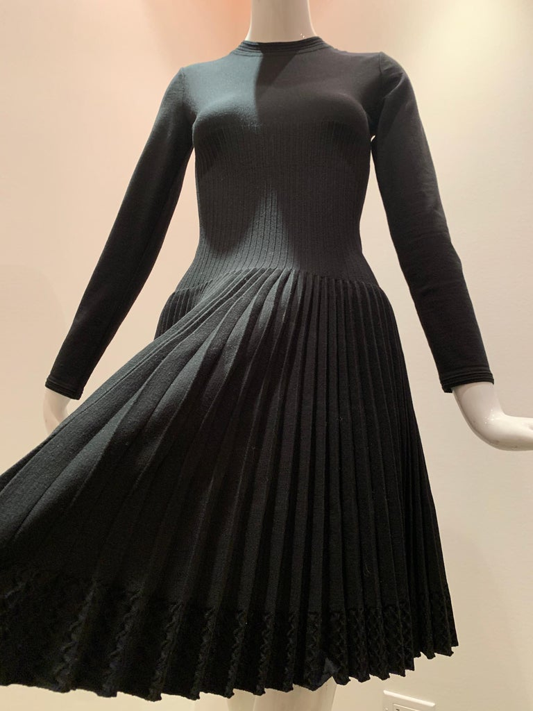 Alaia Black Knit Dress W/ High Neckline Dropped Waist and Pleated Flared Skirt In Excellent Condition For Sale In San Francisco, CA