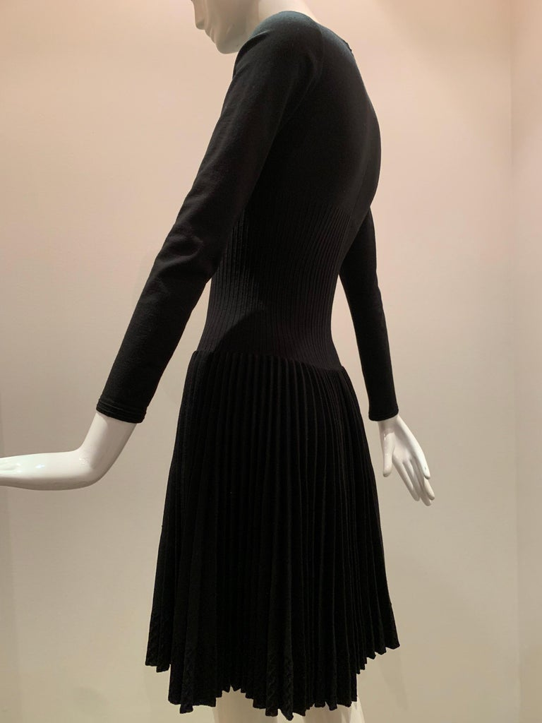 Alaia Black Knit Dress W/ High Neckline Dropped Waist and Pleated Flared Skirt For Sale 3