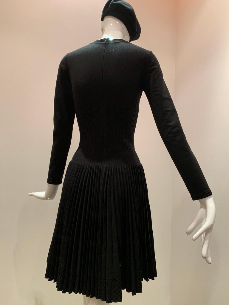 Alaia Black Knit Dress W/ High Neckline Dropped Waist and Pleated Flared Skirt For Sale 4