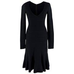 Alaia Black Knit Midi Fit & Flare Dress - Size S