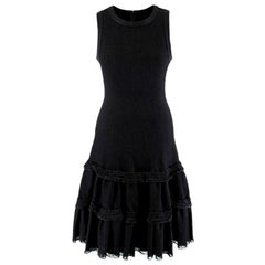 Alaia Black Knitted Sleeveless Tiered Dress - Size US 6