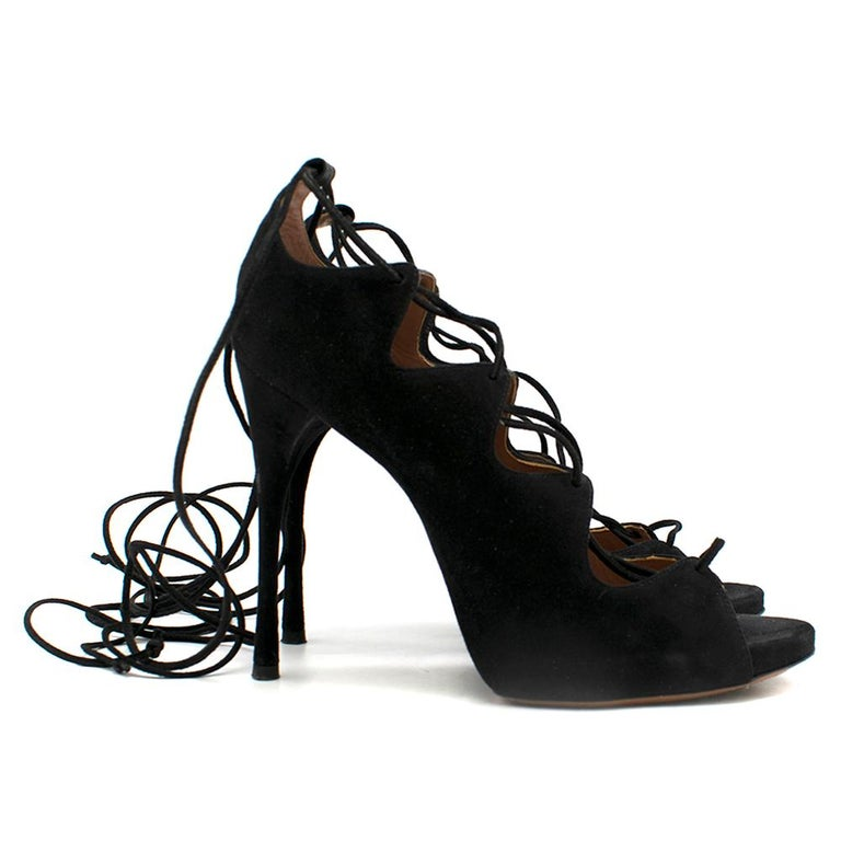 Alaia Black Lace Up Suede Sandals Size 38 In Good Condition For Sale In London, GB