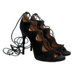 Alaia Black Lace Up Suede Sandals Size 38
