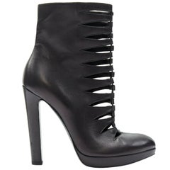 ALAIA black leather angular cut out front almond toe platform ankle boot EU37.5