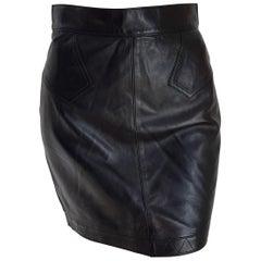 ALAIA black leather mini skirt - Unworn, New