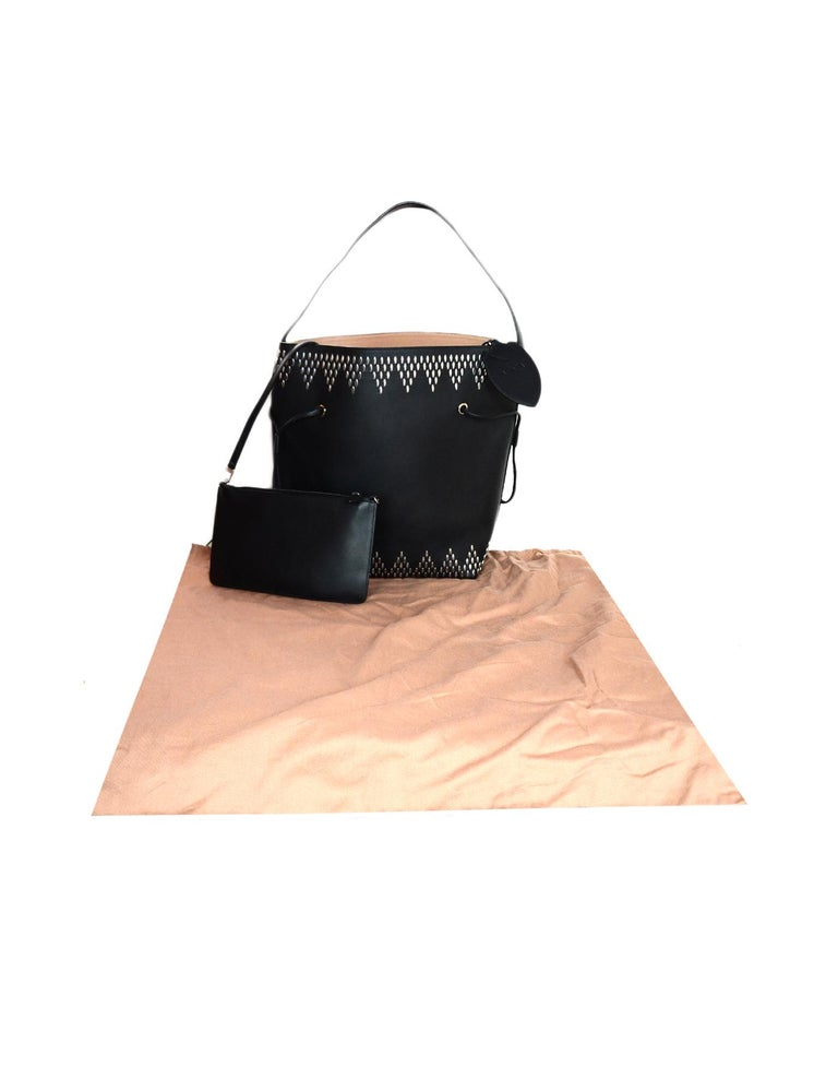 Alaia Black Leather Silver Studded Bucket Bag w. Pouch & Mirror For Sale 6