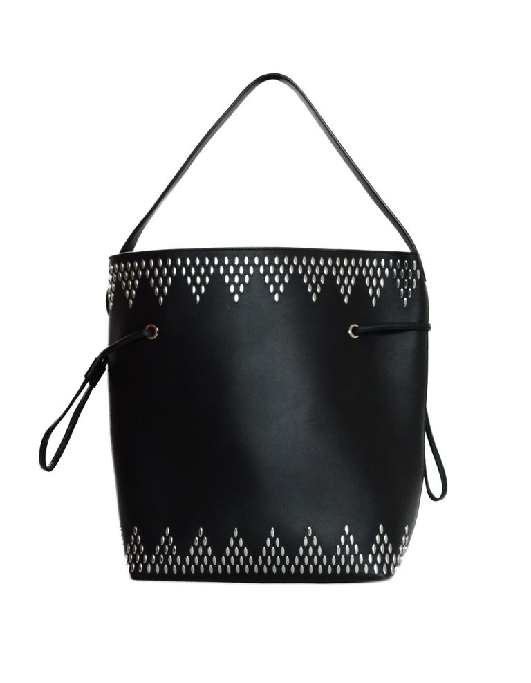 Alaia Black Leather Silver Studded Bucket Bag w. Pouch & Mirror In Good Condition For Sale In New York, NY