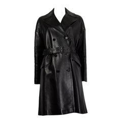 ALAIA black leather TRENCH COAT Jacket 38